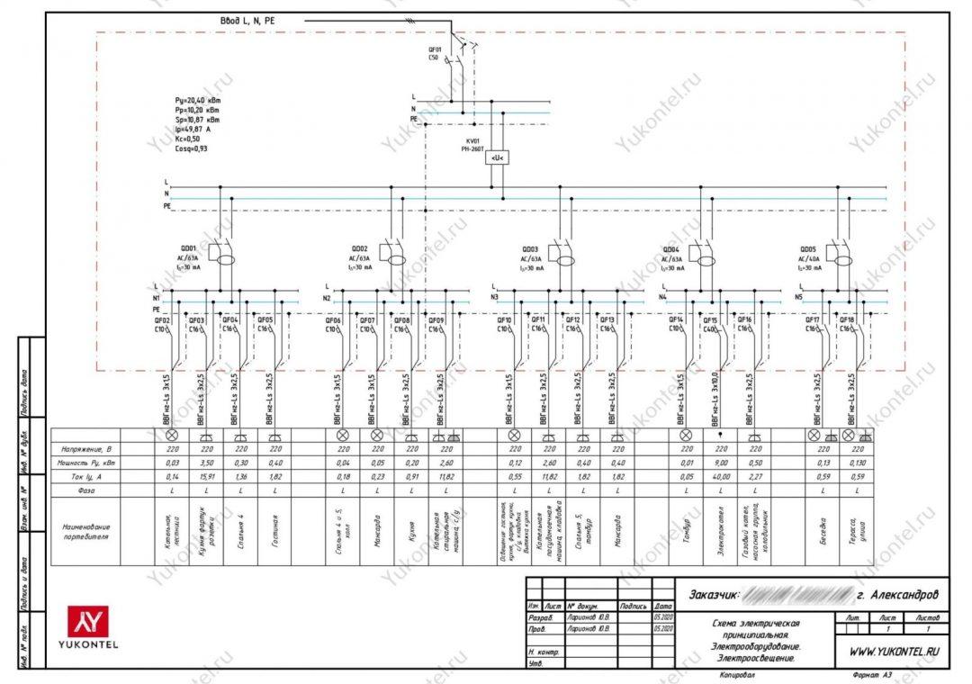 Проект электрики ч-дом Александров