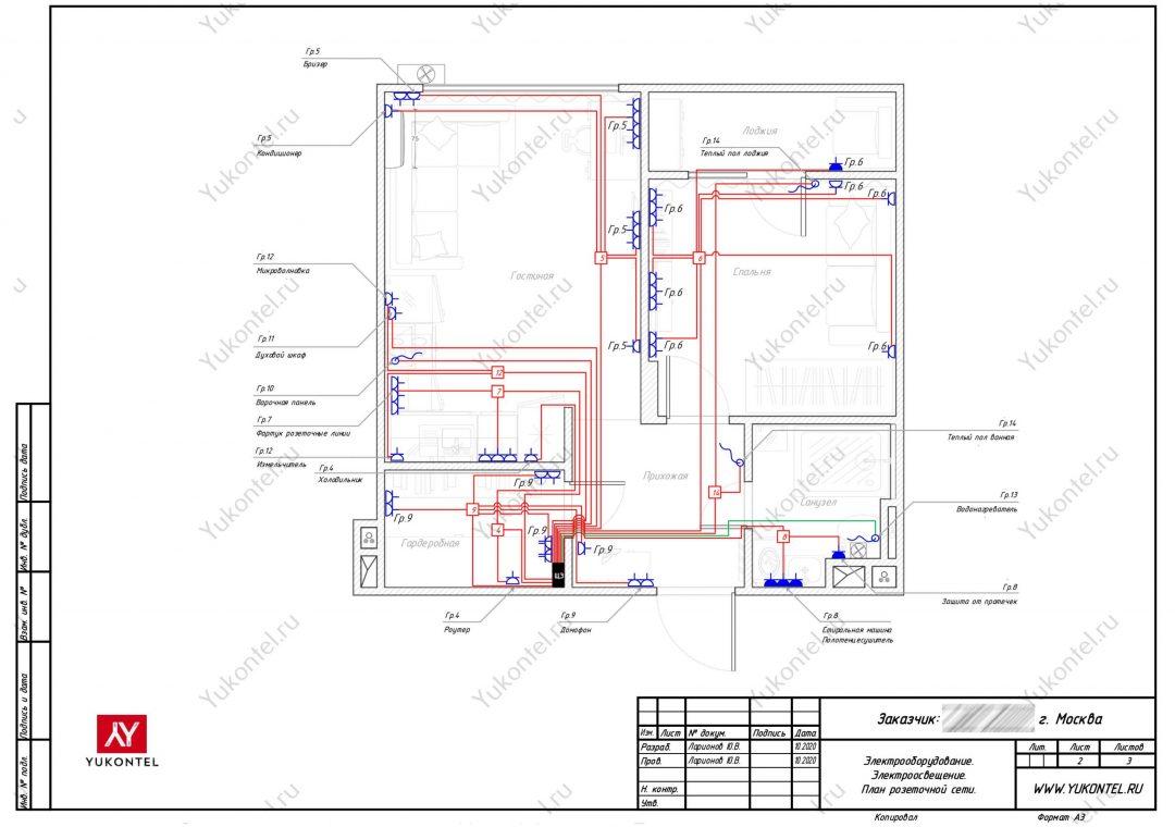 проект электрики - План розеточных линий