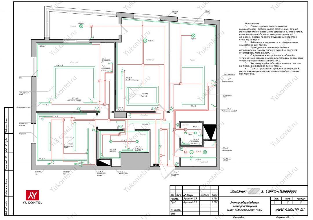 план электрики - План осветительной сети