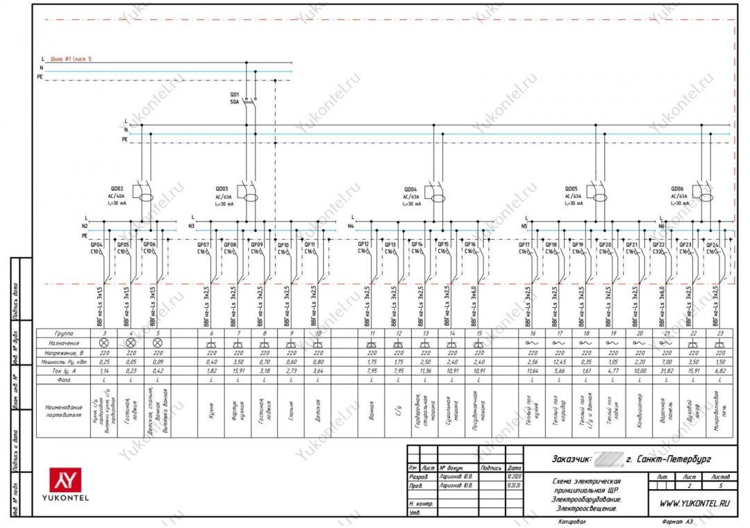 план электрики - Схема
