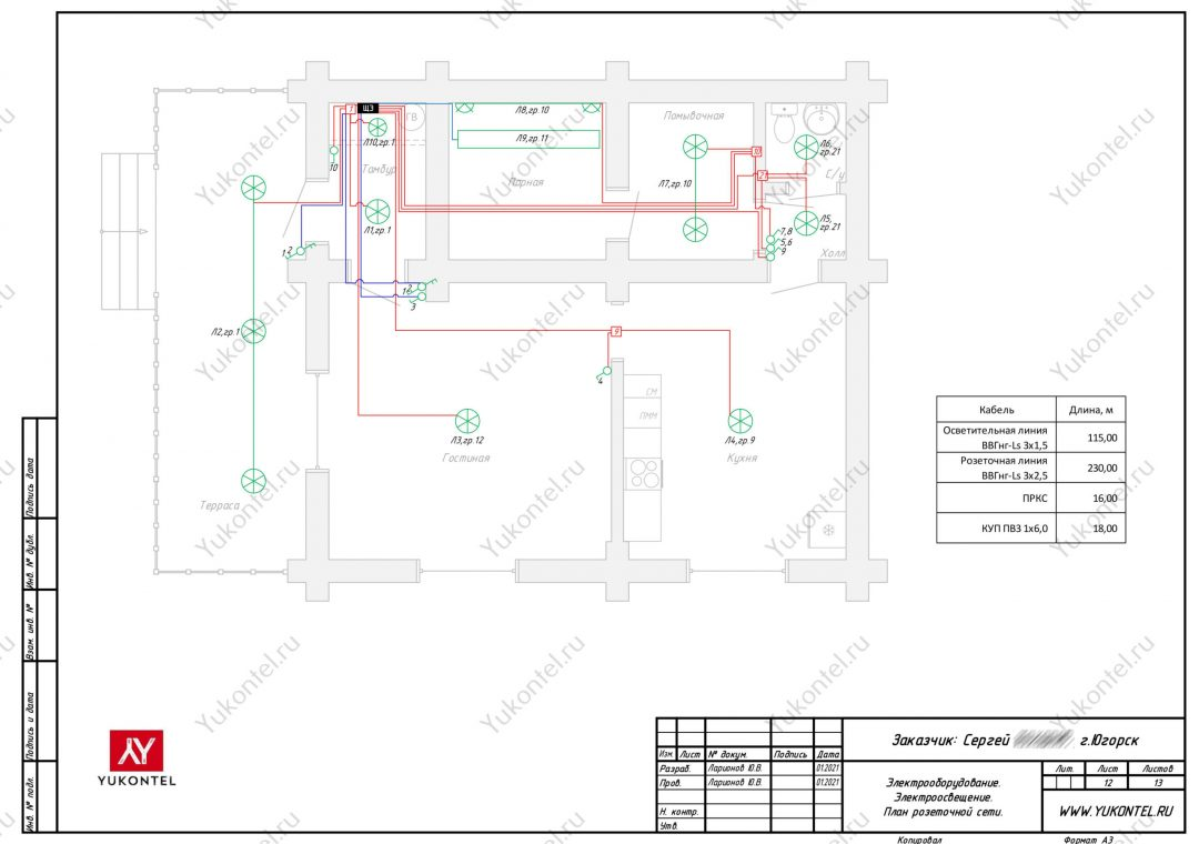 Проект электрощита для гостевого домика Югорск